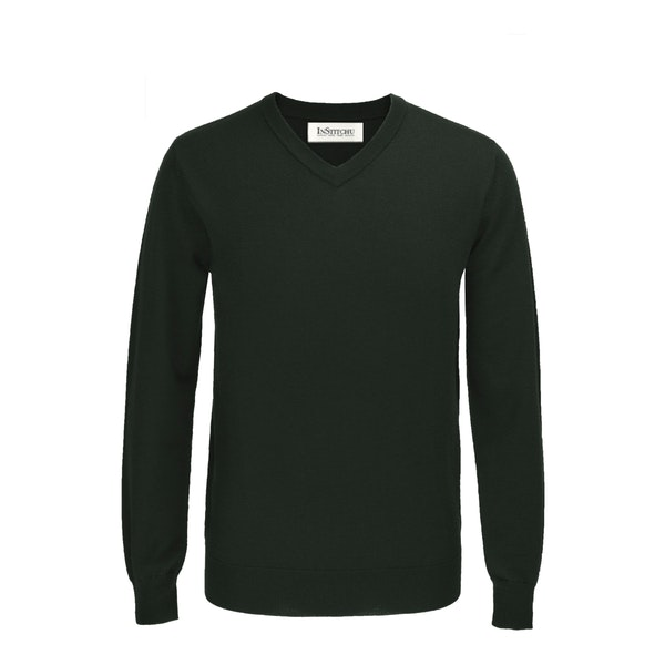 The Newman Green V-Neck Wool Sweater