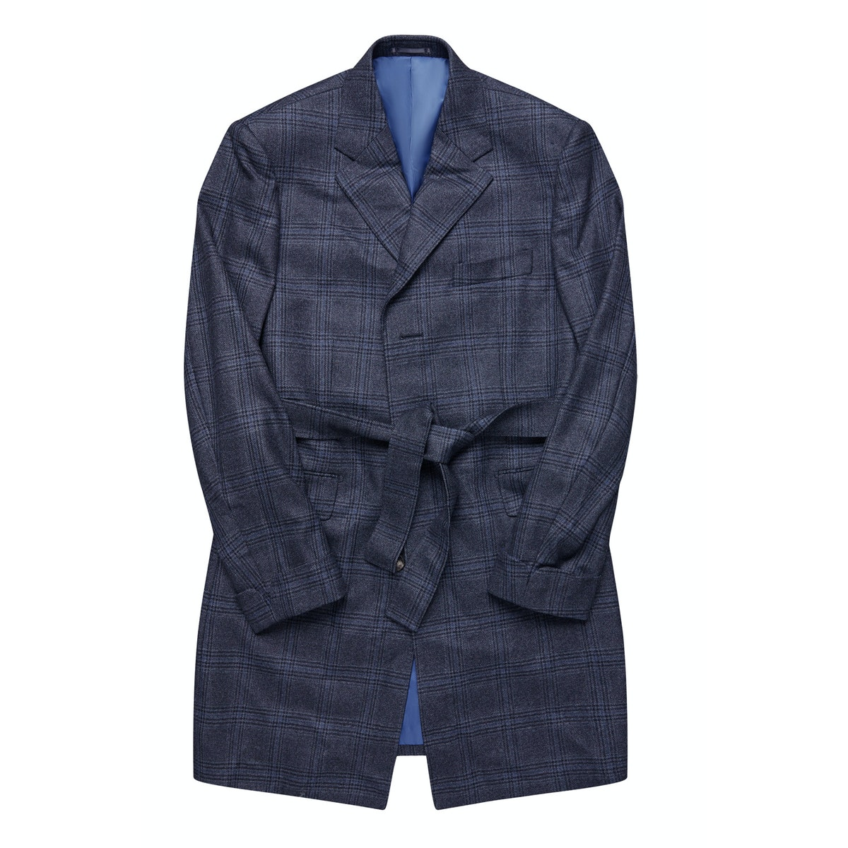 The Riverina Blue Check Plaid Wool Overcoat