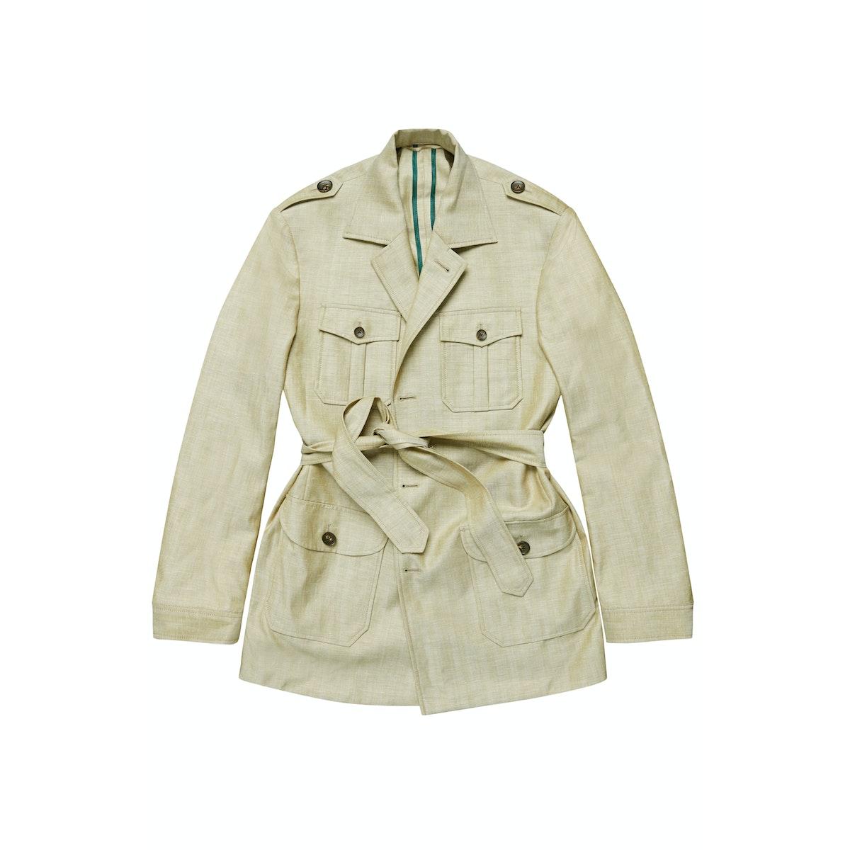The Grampians Beige Wool-Linen Safari Jacket