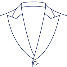 Wide Curved Peak Lapel