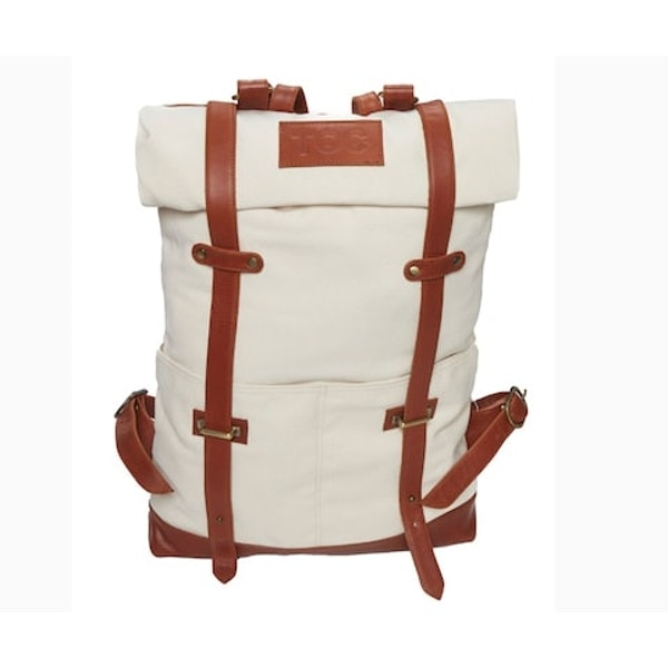 InStitchu Accessories bag TOC White Canvas Backpack