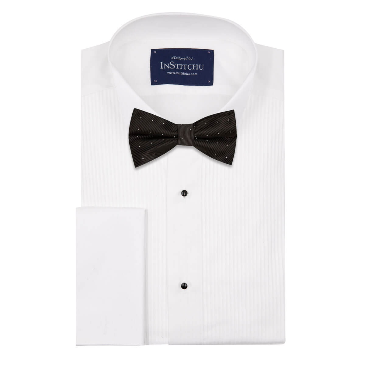 InStitchu Accessories bow-tie The Dahl Black Dots Bow Tie on shirt