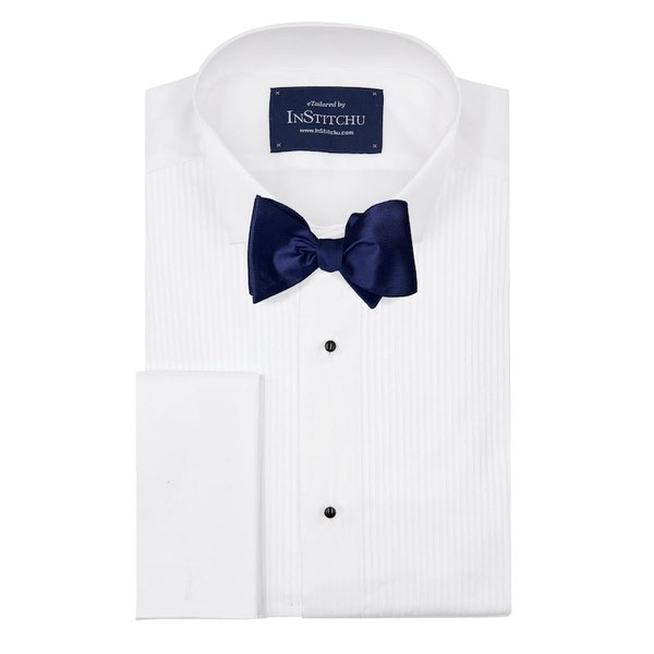 InStitchu Collection The Dickens Navy Silk Self-Tie Bow Tie