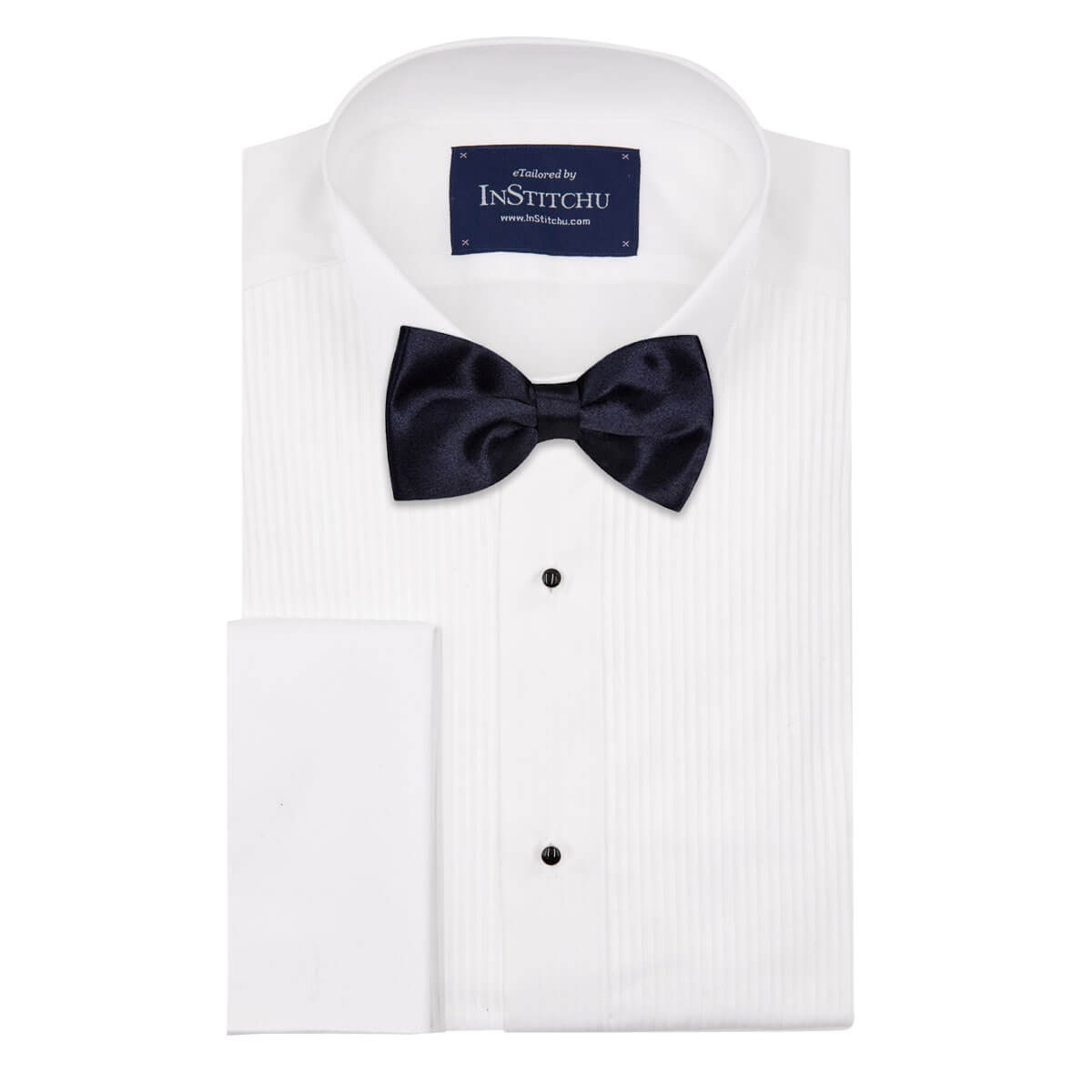 InStitchu Accessories bow-tie The Fleming Black Satin Bow Tie