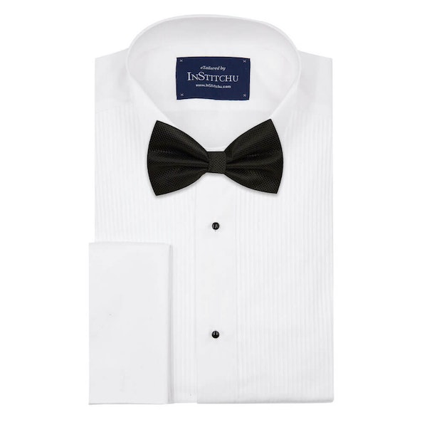 InStitchu Accessories bow-tie The Melville Black Diamond Bow Tie on shirt