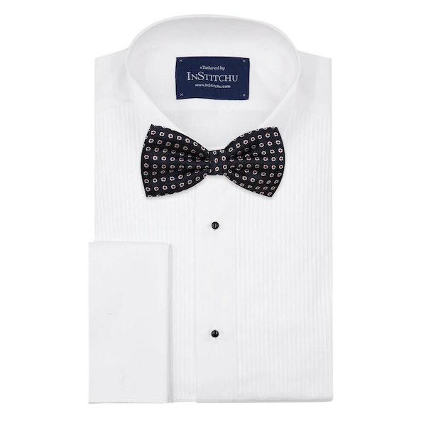 InStitchu Accessories bow-tie The Salinger Navy Premium Flower Bow Tie on shirt