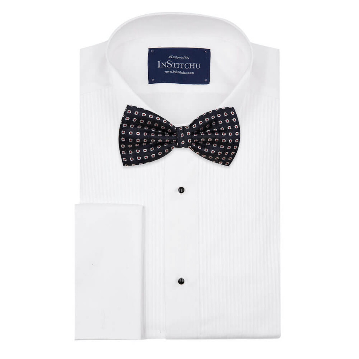 InStitchu Accessories bow-tie The Salinger Navy Premium Flower Bow Tie on shirt