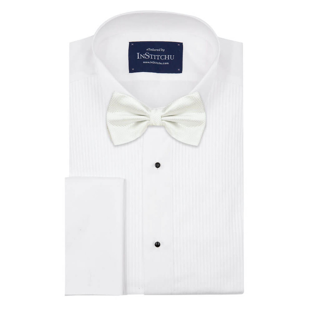 InStitchu Accessories bow-tie The Wolfe White Satin Bow Tie on shirt