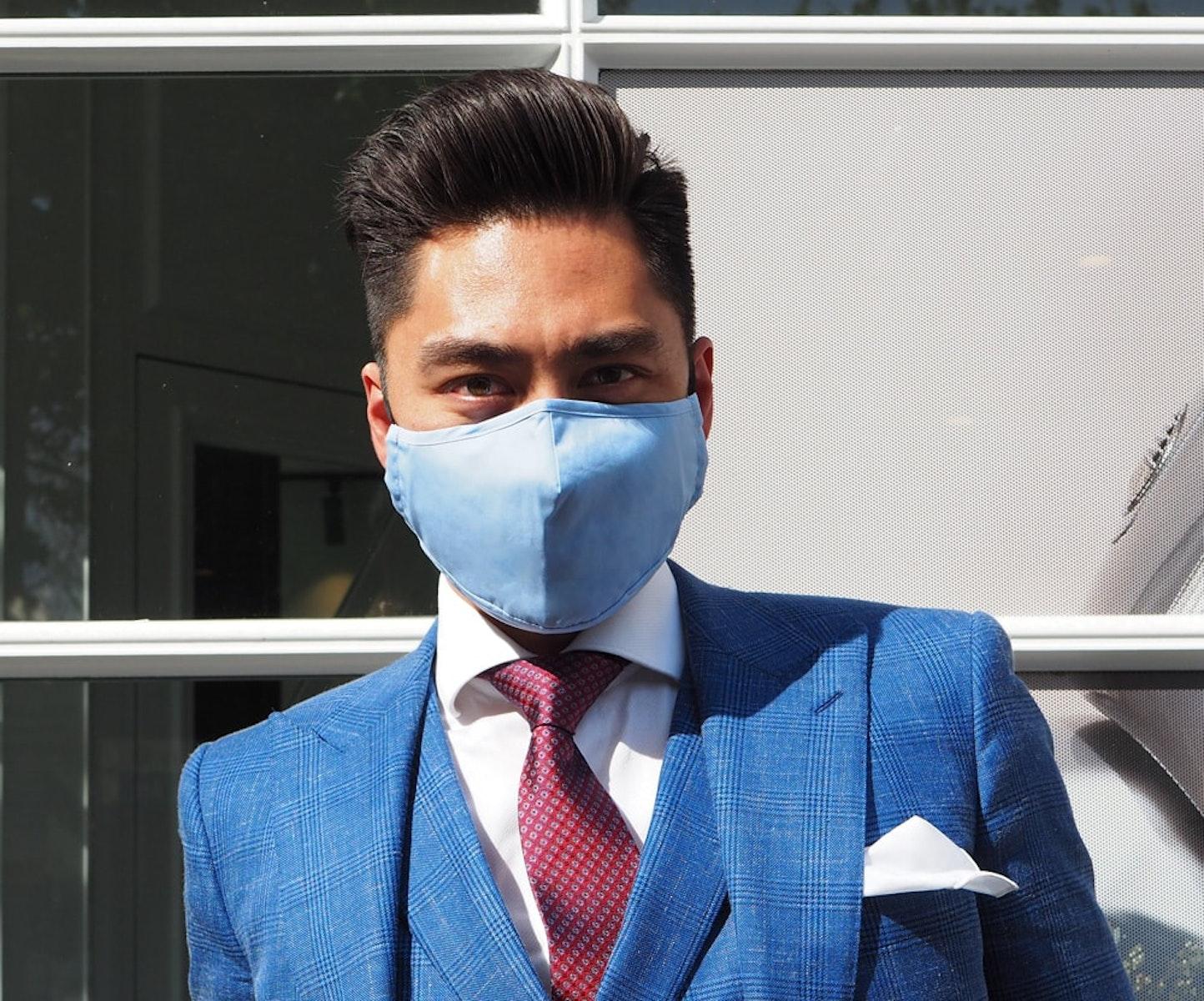 InStitchu Collection Cotton Face Mask Plain Blue 1 Mask
