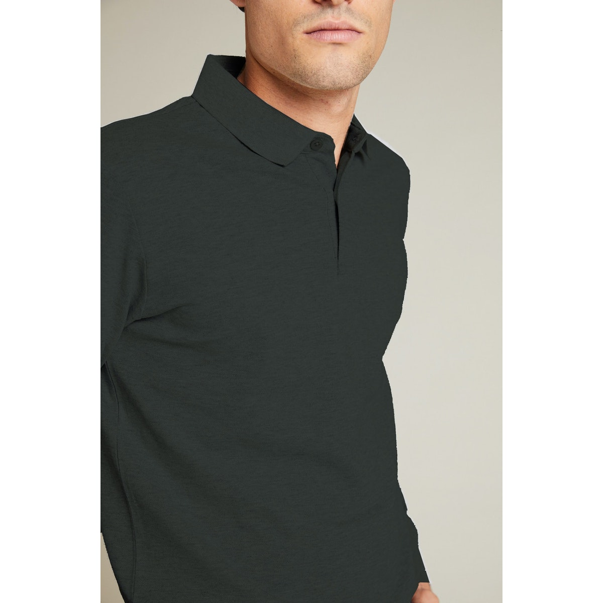 InStitchu Collection Murray Green Cotton Long Sleeve Polo