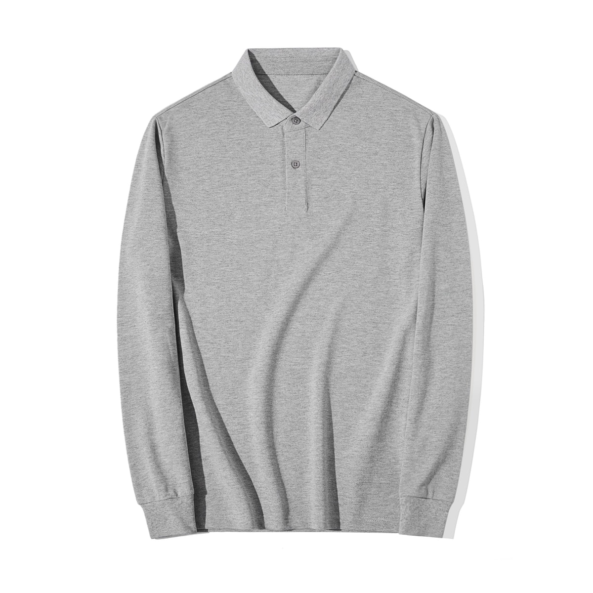 InStitchu Collection Murray Grey Cotton Long Sleeve Polo