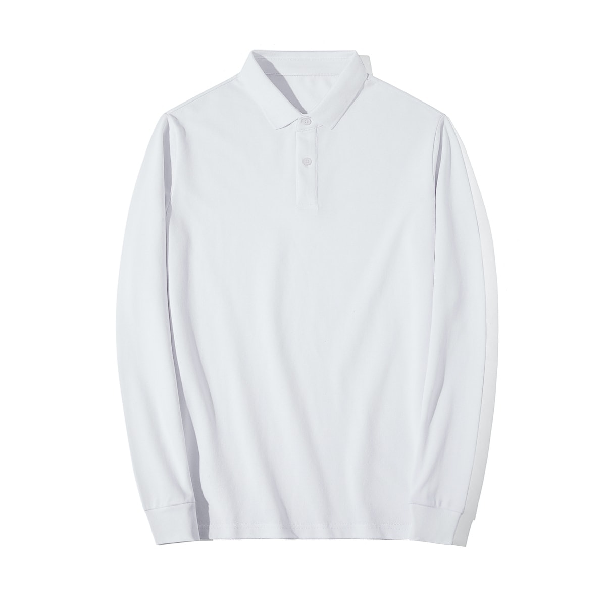 InStitchu Collection Murray White Cotton Long Sleeve Polo