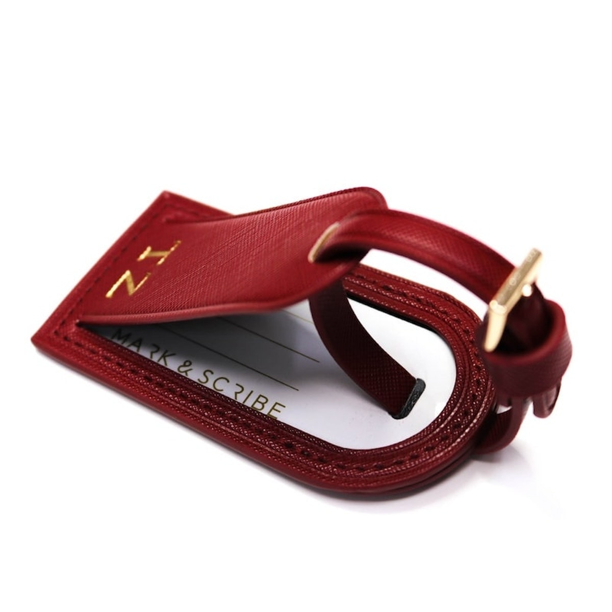 InStitchu Collection Mark And Scribe Red Luggage Tag