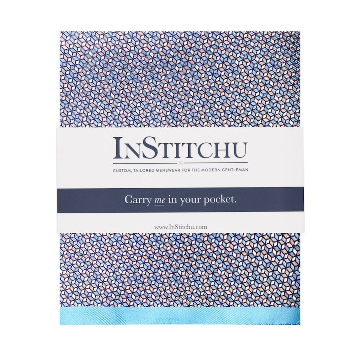 InStitchu Collection The Grumento Geometric Blue and Pink Silk Pocket Square