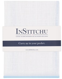 InStitchu Accessories pocket-square The Lawson Linen White & Baby Blue Trim Pocket Square