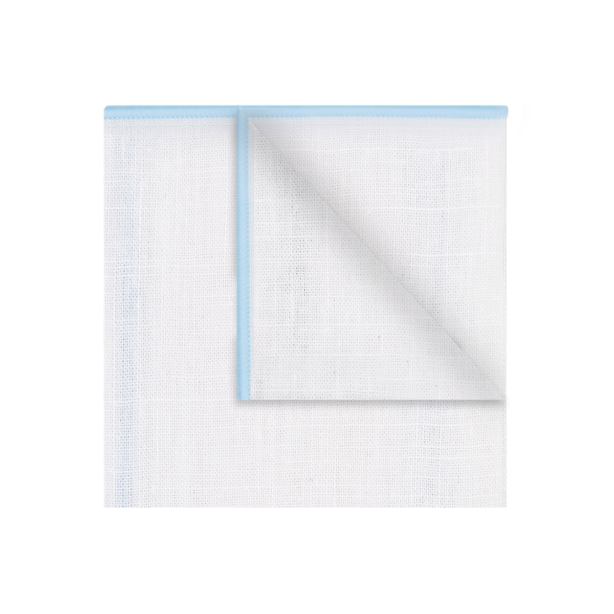 InStitchu Accessories pocket-squareThe Lawson Linen White & Baby Blue Trim Pocket Square