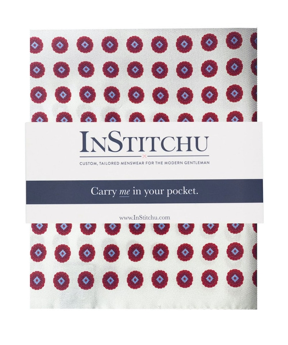 InStitchu Collection The Matera White, Red and Blue Emblem Silk Pocket Square