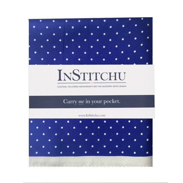 InStitchu Collection The Moliterno Navy and White Spot Silk Pocket Square