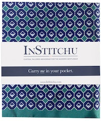 InStitchu Collection The Sarconi Teal Green and Blue Emblem Silk Pocket Square