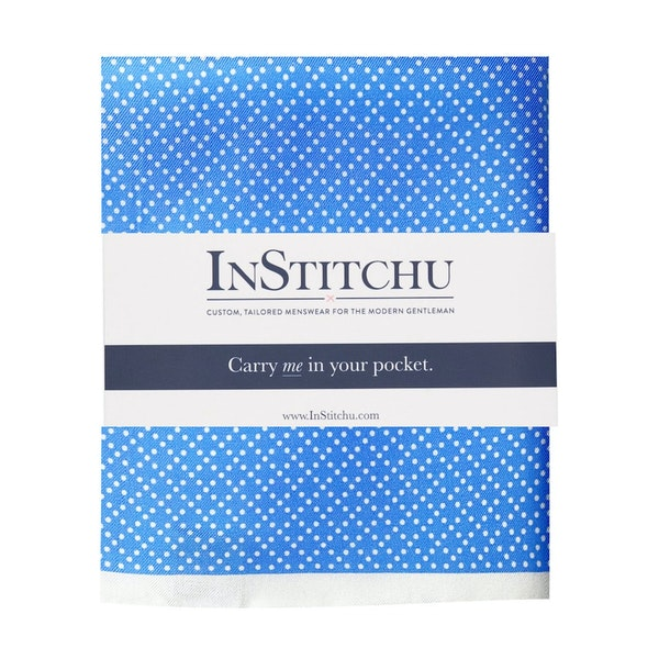 InStitchu Collection The Spinoso Blue and White Spot Silk Pocket Square