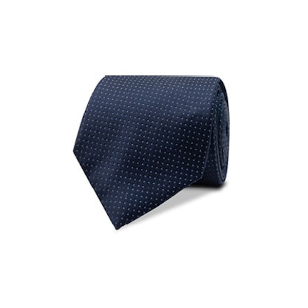 InStitchu Essentials Accessories Tie Clovelly White Spotted Navy Silk Tie