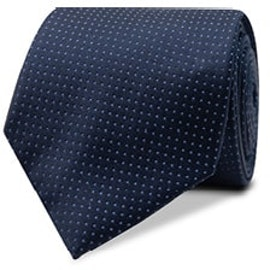InStitchu Essentials Accessories Tie Clovelly White Spotted Navy Silk Tie
