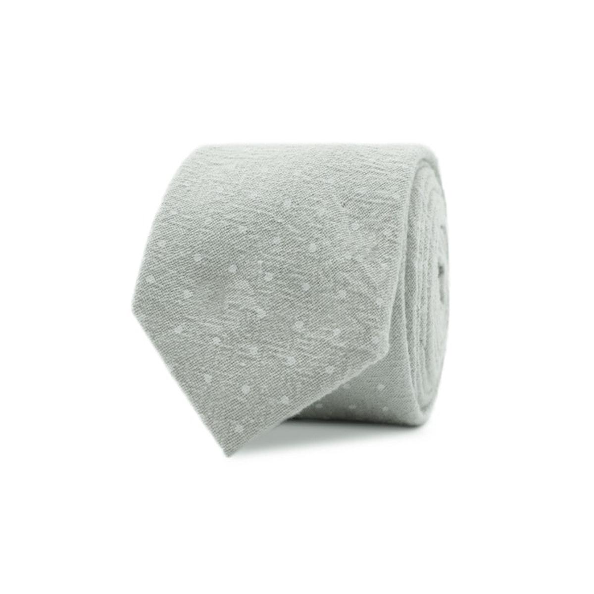 InStitchu Essentials Accessories Tie Maroubra Eucalypt-Grey Pastel Spotted Cotton Tie