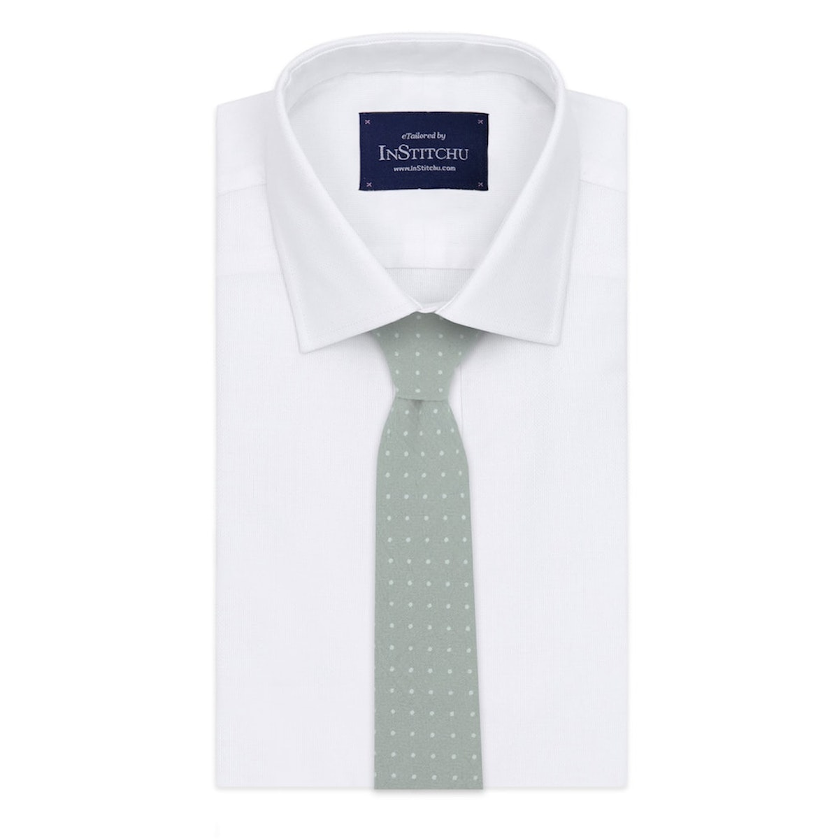 InStitchu Essentials Accessories Tie Maroubra Eucalypt-Grey Pastel Spotted Cotton Tie