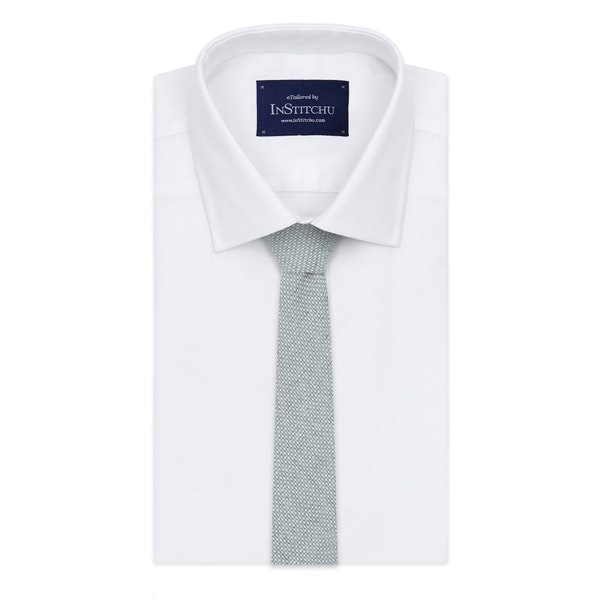 InStitchu Essentials Accessories Tie Balmoral Pale Grey and White Cotton Tie