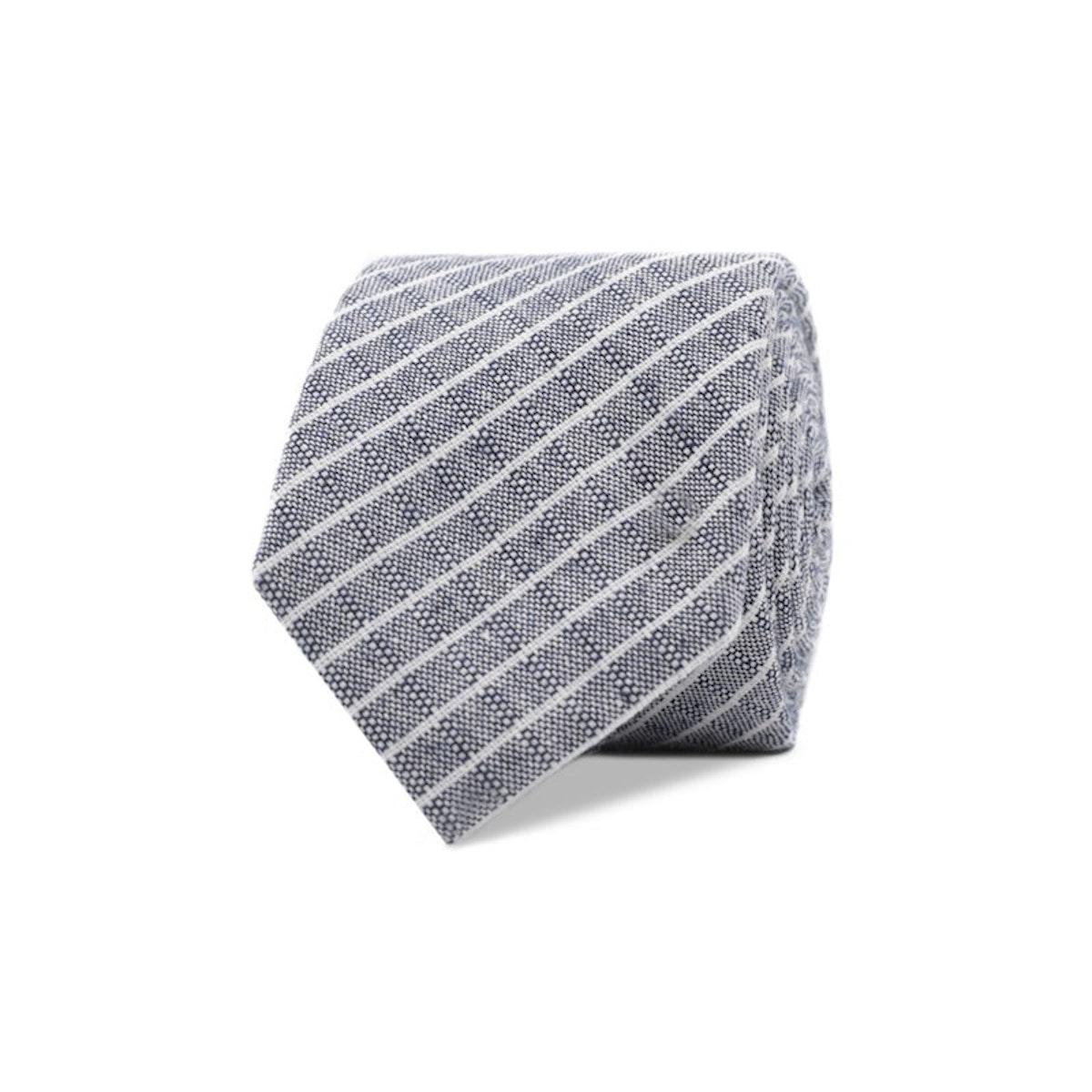 InStitchu Essentials Accessories Tie Manly Grey and White Pinstripe Cotton Tie