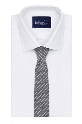 InStitchu Essentials Accessories Tie Manly Grey and White Pinstripe Cotton Tie