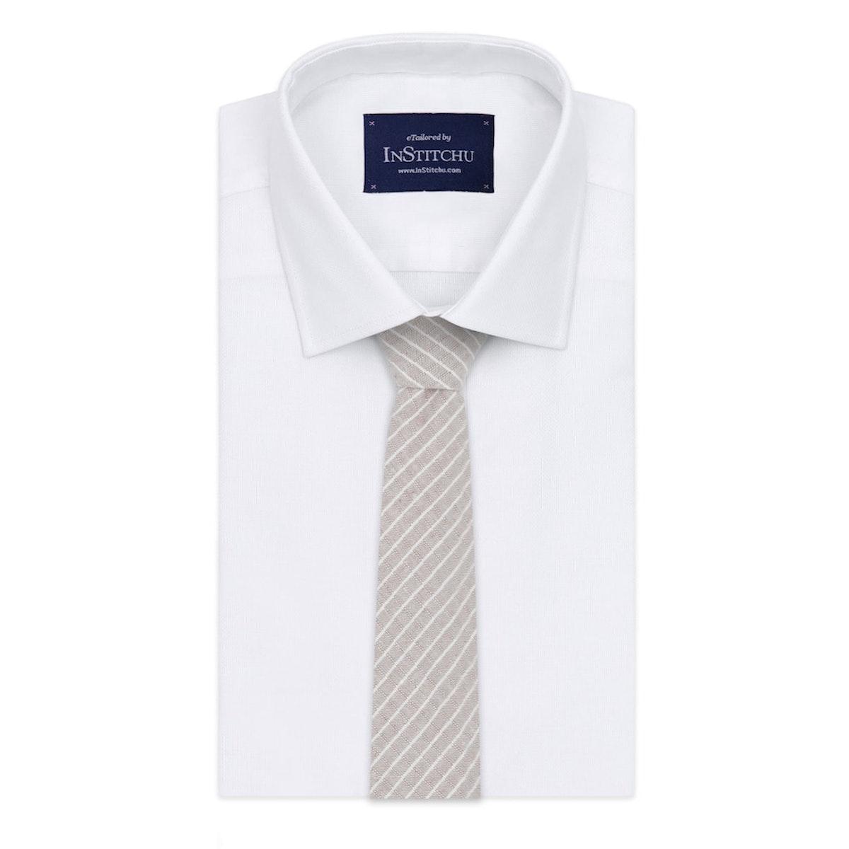 InStitchu Essentials Accessories Tie Sandy Beige and White Pinstripe Cotton Tie