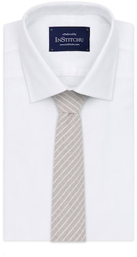 InStitchu Essentials Accessories Tie Sandy Beige and White Pinstripe Cotton Tie