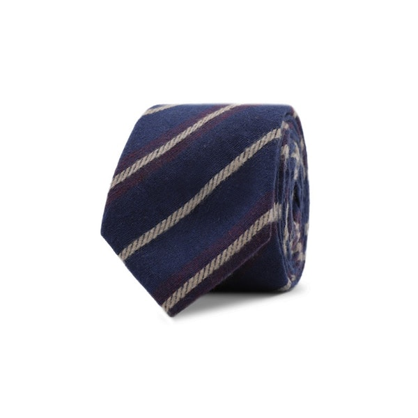InStitchu Essentials Accessories Tie Noosa Navy Blue Cotton Striped Tie