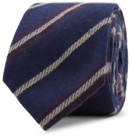 InStitchu Essentials Accessories Tie Noosa Navy Blue Cotton Striped Tie