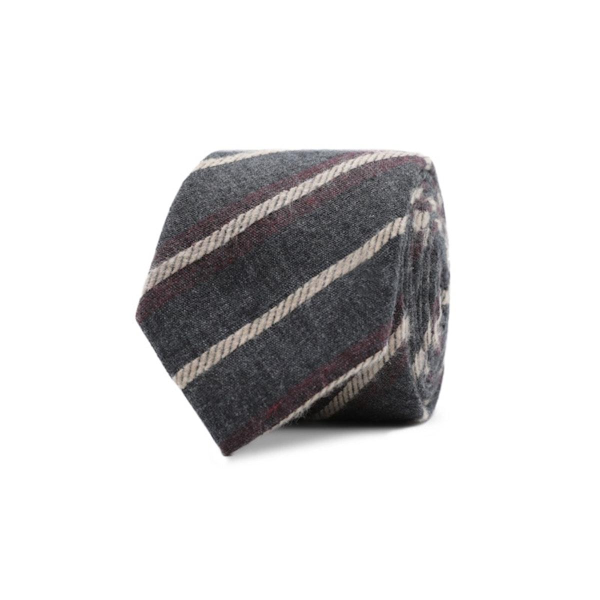 InStitchu Essentials Accessories Tie Rottnest Deep Grey, Cream and Red Striped Tie