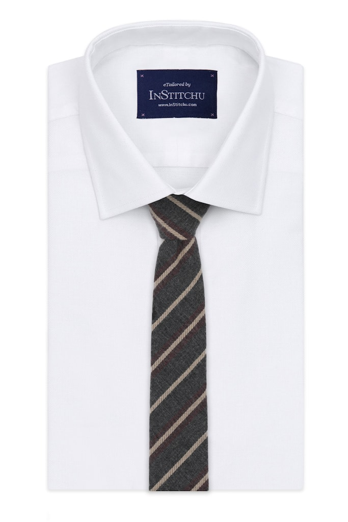 InStitchu Essentials Accessories Tie Rottnest Deep Grey, Cream and Red Striped Tie