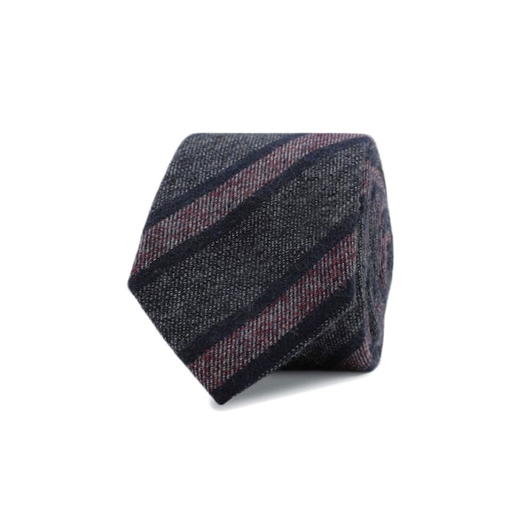 InStitchu Essentials Accessories Tie Coogee Navy, Deep Grey and Mauve Striped Cotton Tie