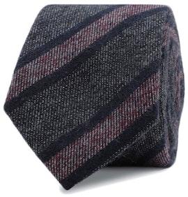 InStitchu Essentials Accessories Tie Coogee Navy, Deep Grey and Mauve Striped Cotton Tie