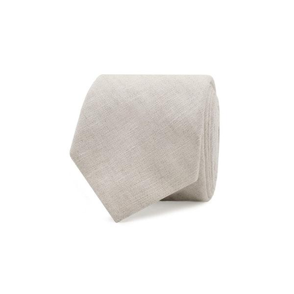 InStitchu Essentials Accessories Tie Harbord Light Beige Cotton and Linen Tie
