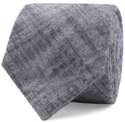 InStitchu Essentials Accessories Tie Avalon Navy, Grey and White Cotton and Linen Tie