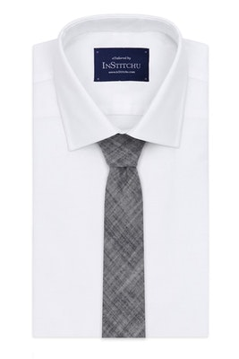 InStitchu Essentials Accessories Tie Avalon Navy, Grey and White Cotton and Linen Tie