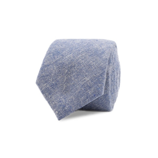 InStitchu Essentials Accessories Tie Cottesloe Mid-Blue and White Cotton and Linen Tie