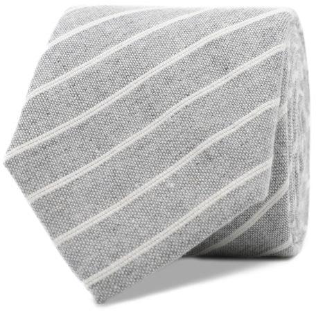 InStitchu Essentials Accessories Tie St Kilda Striped Grey Linen and Cotton Tie