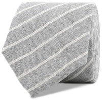 InStitchu Essentials Accessories Tie St Kilda Striped Grey Linen and Cotton Tie