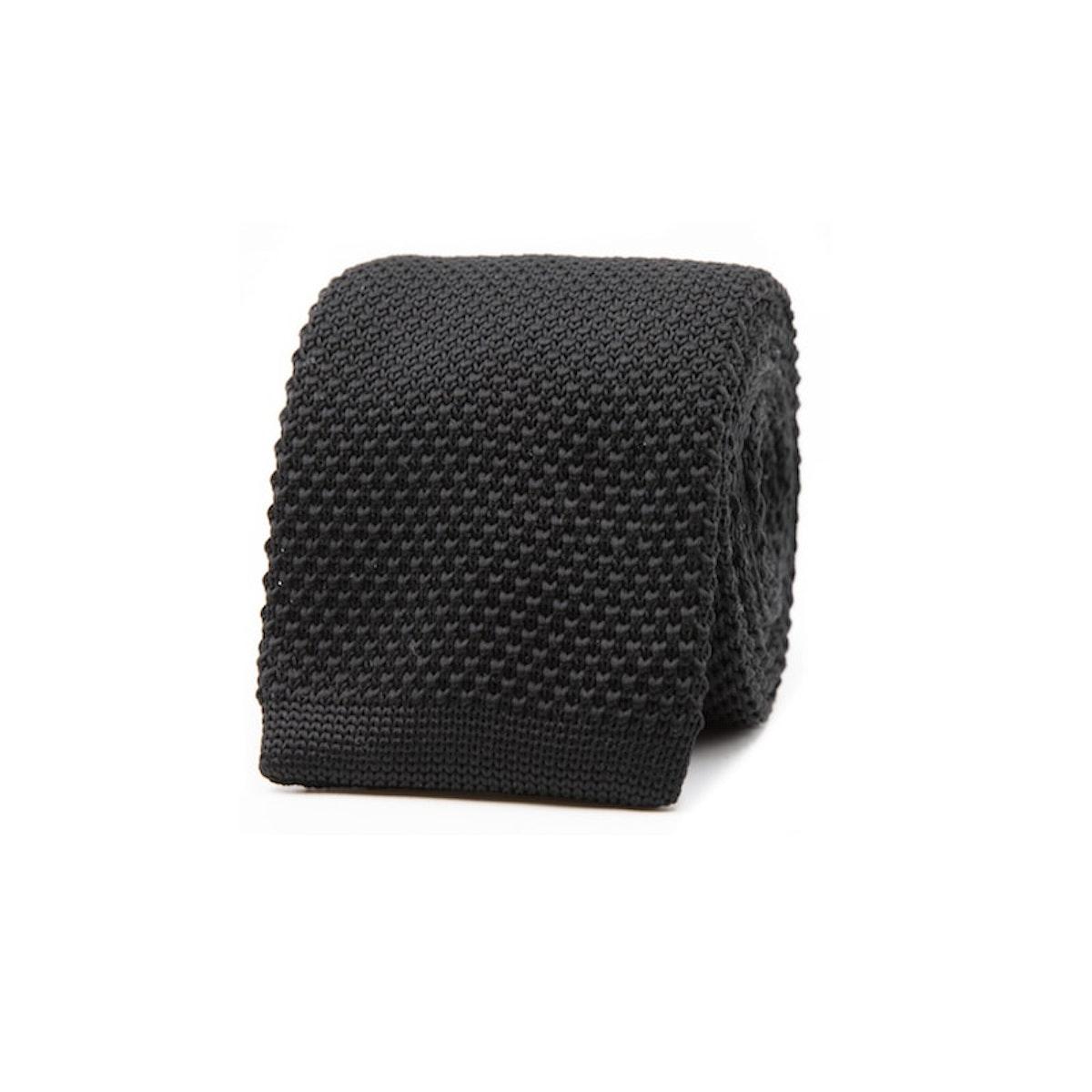 InStitchu Essentials Accessories Tie Kutti Black Knitted Square-End Tie