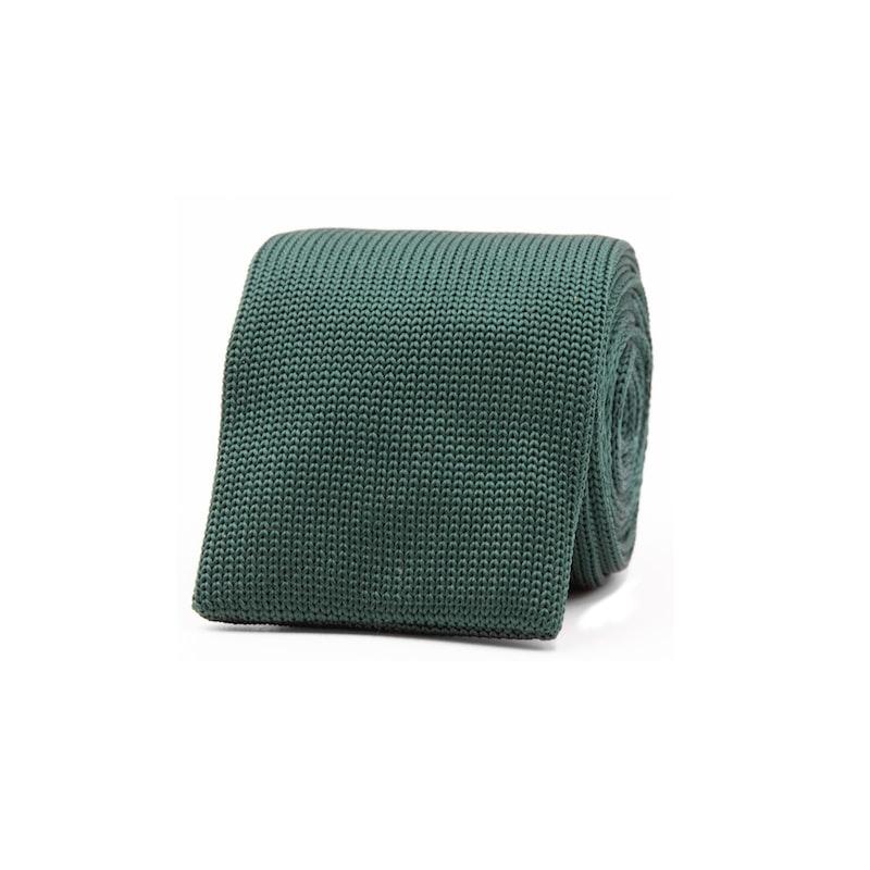 InStitchu Essentials Accessories Tie Palm Dark Green Knitted Square-End Tie