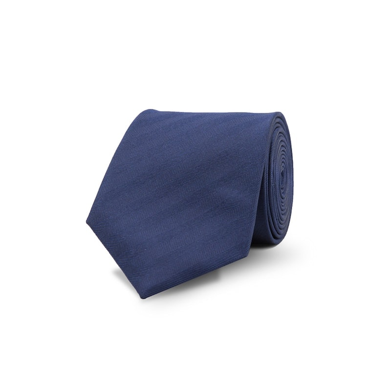 InStitchu Essentials Accessories Tie Curl Curl Navy Herringbone Striped Tie