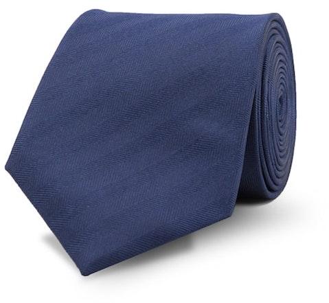 InStitchu Essentials Accessories Tie Curl Curl Navy Herringbone Striped Tie