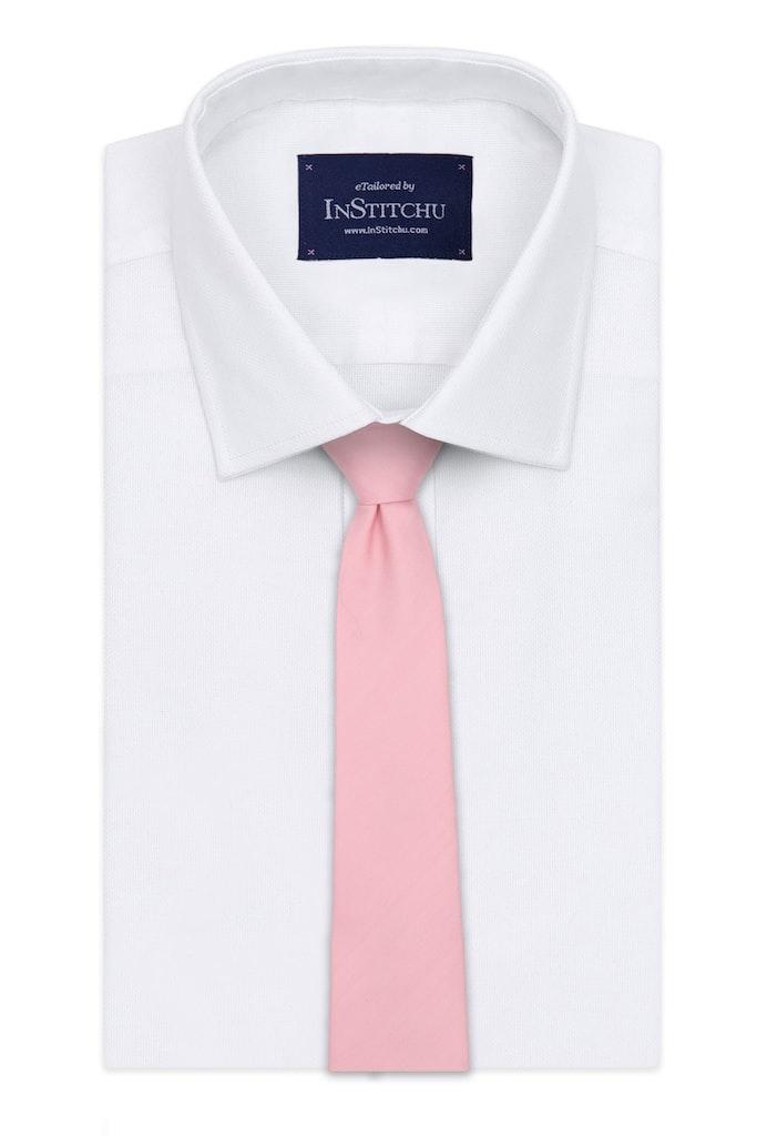 InStitchu Essentials Accessories Tie Reef Pale Pink Herringbone Silk Tie